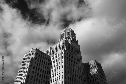 Deurstickers New York City Art Deco Buffalo City Hall, seat of municipal government in downtown Buffalo New York. Art Deco masterpiece, tallest building in upstate New York, designed in 1931, black and white.