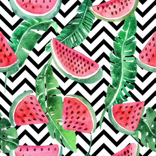 Cotton fabric Watercolor seamless pattern with tropical leav and watermelon.