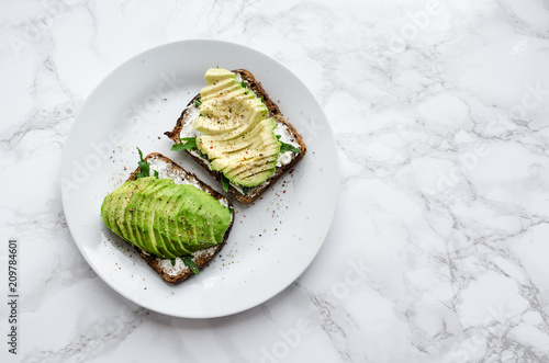 Avocado toasts on rye bread
