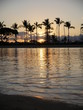 Hawaii sunset between palm trees with water reflection