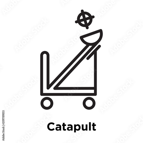 Fotografía  Catapult icon vector sign and symbol isolated on white background, Catapult logo