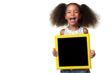 Cute African American Small Girl Holding A Blackboard With Space For Text