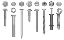 Realistic 3d Vector Screws, Nu...