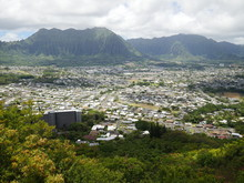 Kaneohe City View With Koolau Mountain Range Oahu Island Windward Side Hawaii