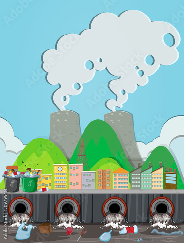 In de dag Kids A Pollution From Nuclear Power Plant