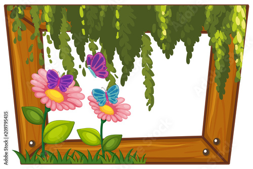 Deurstickers Kids A Beautiful Flower Wooden Frame