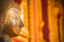 Blurred Image Of Face Buddha Statue At Hor Phra Kaew Vientiane Laos Capital