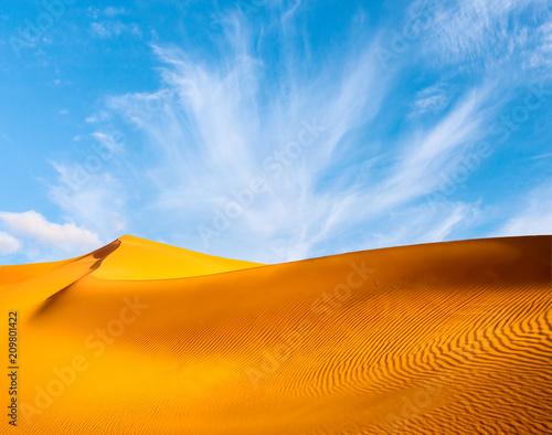 Tuinposter Zandwoestijn Amazing view of sand dunes in the Sahara Desert. Location: Sahara Desert, Merzouga, Morocco. Artistic picture. Beauty world.