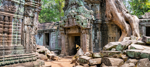 Tree roots over the beautiful Ta Prohm temple at Angkor, Siem Reap Province, Cambodia Canvas Print