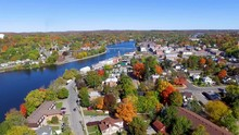 Aerial Shot Of Campbellford Ontario In The Fall