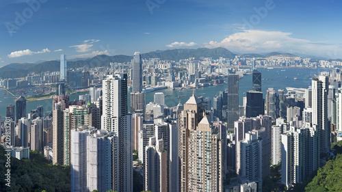 In de dag Aziatische Plekken View of Victoria harbor from the peak at Hong Kong