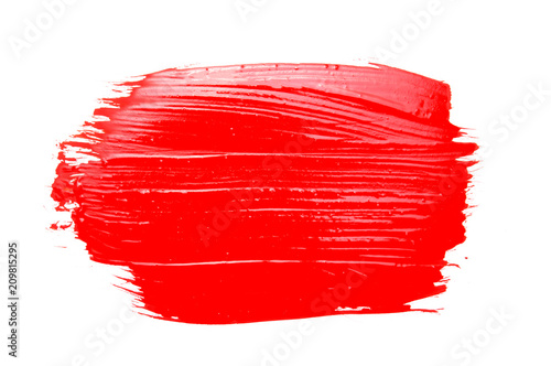 Fotografie, Obraz  red paint brush strokes texture isolated on white background