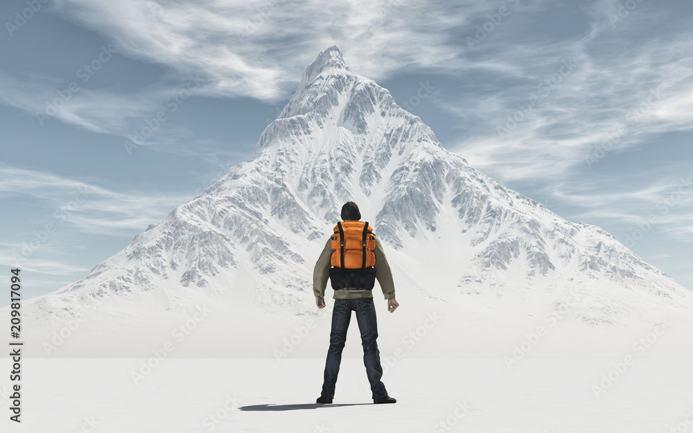 Fototapety, obrazy: Conceptual image of a man with backpack
