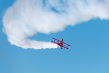 Biplane Smoke With Wingwalker