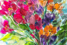 Texture Oil Painting Flowers, ...