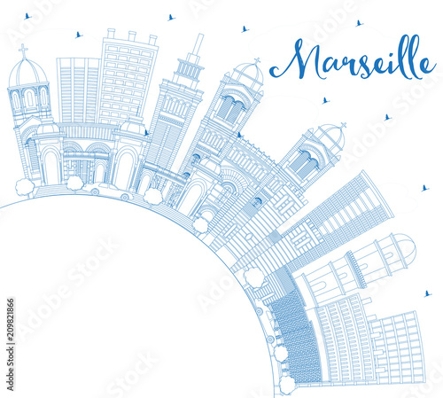Staande foto Schilderingen Outline Marseille France City Skyline with Blue Buildings and Copy Space.