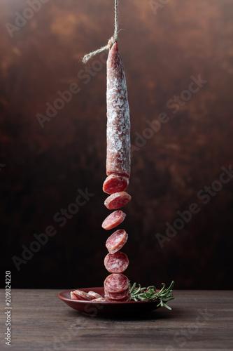 Homemade smoked salami.