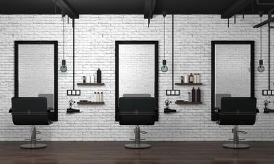 hair salon interior modern style 3d illustration beauty salon white brick wall