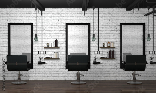 Photographie  hair salon interior modern style 3d illustration beauty salon white brick wall
