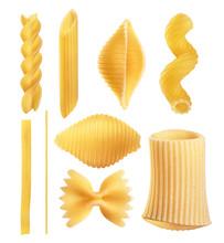 Raw Italian Pasta Fettuccine, Amorini, Paccheri, Farfalle, Spaghetti, Fusilli, Penne, Conchiglie Isolated On A White Background.