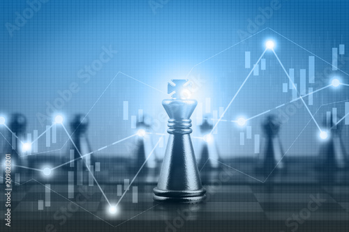 Foto Double exposure financial market stock chart with chess board game competition,