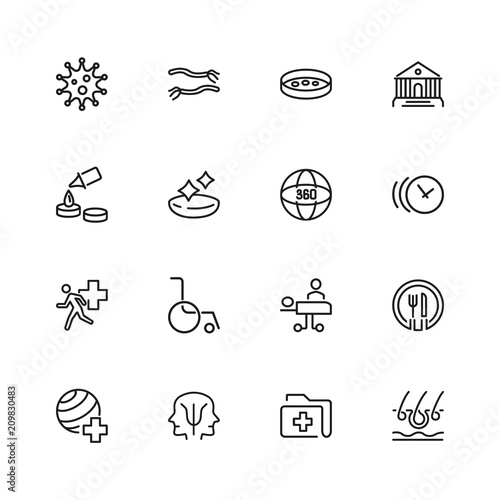 Medicine icons. Set of line icons. Sport doctor, wheelchair ...