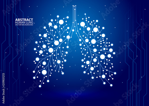 Fotomural Abstract human lung vector with dots and lines