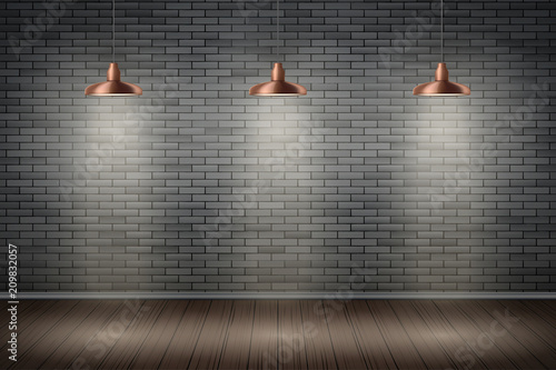 Fotografie, Tablou Interior of black brick wall with vintage pedant brass lamps and wooden floor