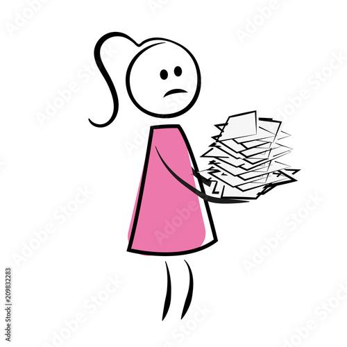 Strichmännchen Frau Mit Papierstapel Kaufen Sie Diese Vektorgrafik
