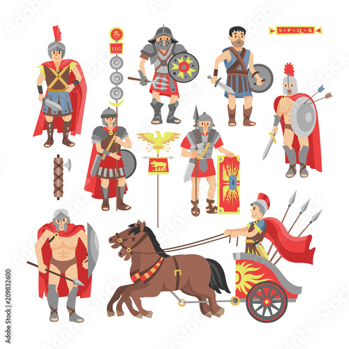 Fotografija Gladiator vector roman warrior man character in armor with sword or weapon and s