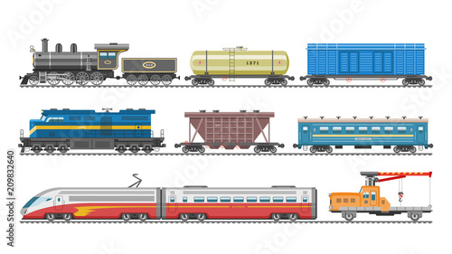 Fotografia Train vector railway transport locomotive or wagon and subway or metro transport