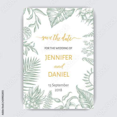 Fototapety, obrazy: Template for wedding invitation. Illustration with exotic leaves.