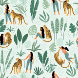 Vector seamless pattern with women, leopards and tropical leaves. - 209835002