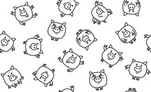 Vector  Funny Pigs Seamless Pattern, Black And White  Silhouettes, Isolated On White.