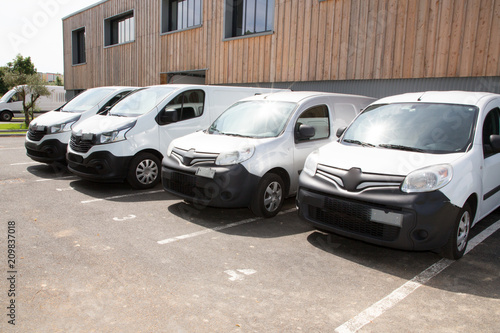 Delivery Vans Ready To Leave To Deliver The Parcels Park In Front