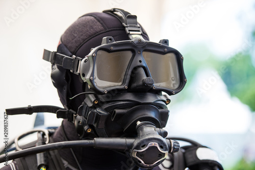 Tablou Canvas Tactical diving helmet of combat diving suit for police and army diving missions