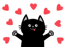 Black Cat Head Face. Hand Paw Print. Heart Icon Set. Happy Valentines Day. Love Card. Cute Cartoon Funny Character. Kawaii Pet Animal. White Background. Flat Design.