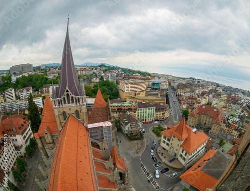 Fotobehang Historisch geb. Aerial panorama of the historic center of Lausanne in Switzerland