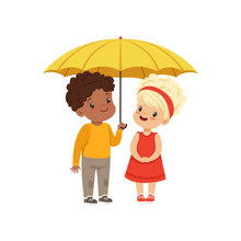 Cute Little Kids Standing Together Under Yellow Umbrella Vector Illustration On A White Background