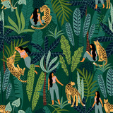 Wektorowy bezszwowy wzór z kobietami, lampartami i tropikalnymi liśćmi. - 209842020