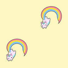Pattern Based On The Illustration Of A Cute Fat Pink Cat With A Horn And A Long Rainbow Tail. This Kawaii Hybrid Between Feline And Unicorn Is Full Of Happiness And Is Try To Distribute Equal Love For