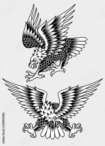 Fototapeta premium Ilustracja wektorowa tatuaż American Screaming Eagle