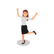 Young woman standing on one leg with hands up. Happy office worker in formal outfit. Flat vector design