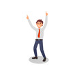 Cartoon office worker with happy face expression and hands up. Young guy in formal clothes. Flat vector design