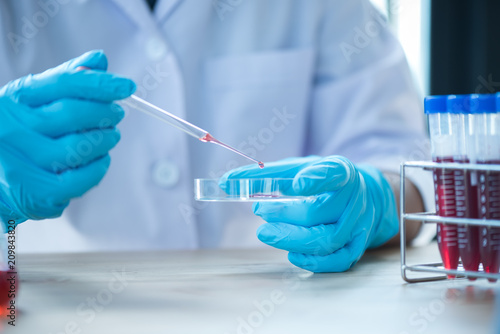 Fotografering Pipette dropping a sample into a test tube, closeup