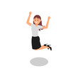 Happy young girl jumping with clenching fists. Successful office worker. Woman in formal outfit. Flat vector illustration