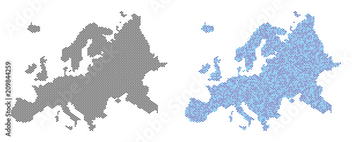 Circle dot Europe map version. Vector territory schemes in black color and blue color tints. Abstract mosaic of Europe map composed with small circle dot pattern.