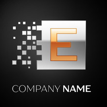 Letter E Logo Symbol In The Golden-silver Colorful Square With Shattered Blocks On Black Background. Vector Template For Your Design