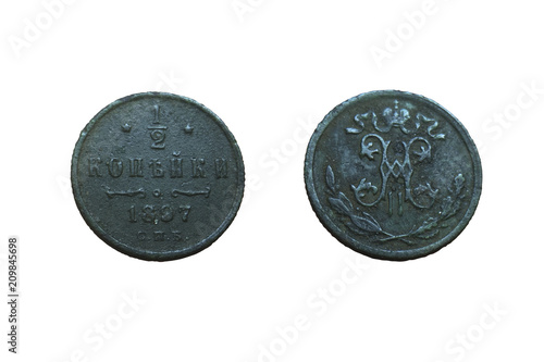 Valokuva  old copper coin of the Russian Empire 1/2 kopeck 1897