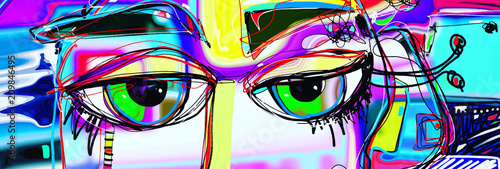 Aluminium Prints Graffiti digital abstract art poster with doodle human eyes